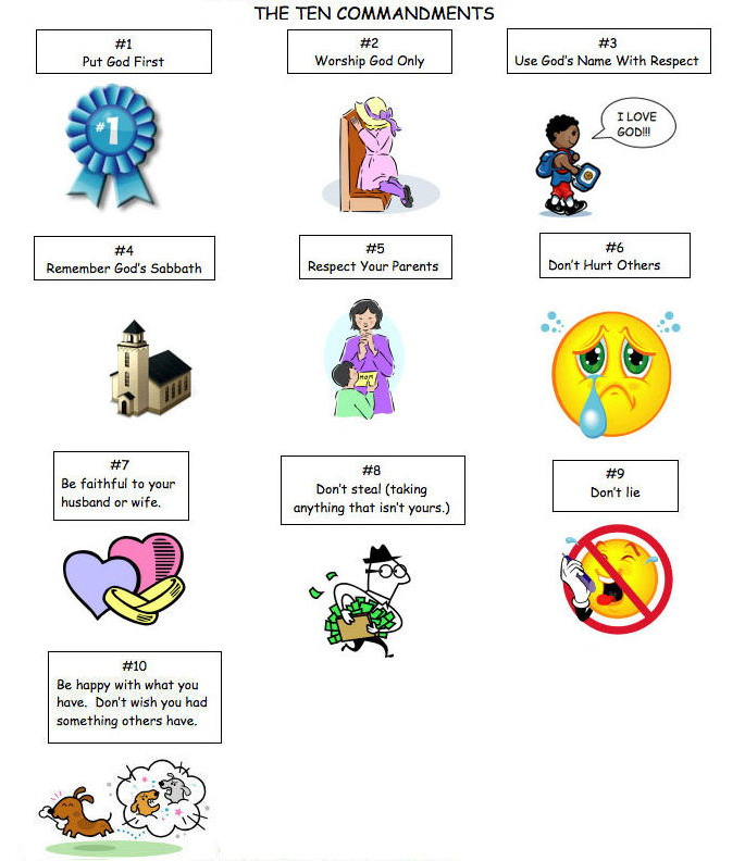 preschool 10 commandments games and activities